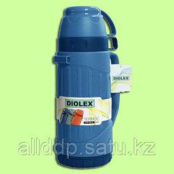 Термос туристический Diolex пластиковый со стеклянной колбой 600 мл (синий)