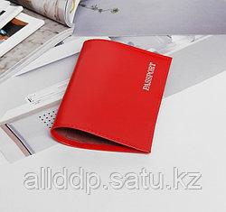 Обложка для паспорта, глянцевая, тиснение, красный