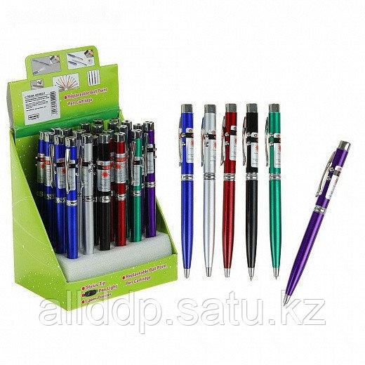 Ручка-фонарик с лазером карманный, 2 диода, цвета МИКС