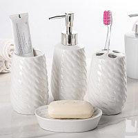 Набор аксессуаров для ванной комнаты, 4 предмета - Волны, белый