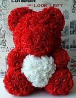 Мишка из роз с сердечком (40 см), красный