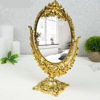 Двустороннее овальное косметическое зеркало с увеличением Cosmetic Mirror 20х31 см, золото