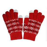 Перчатки для сенсорных экранов - красные с узором, 2 пальца