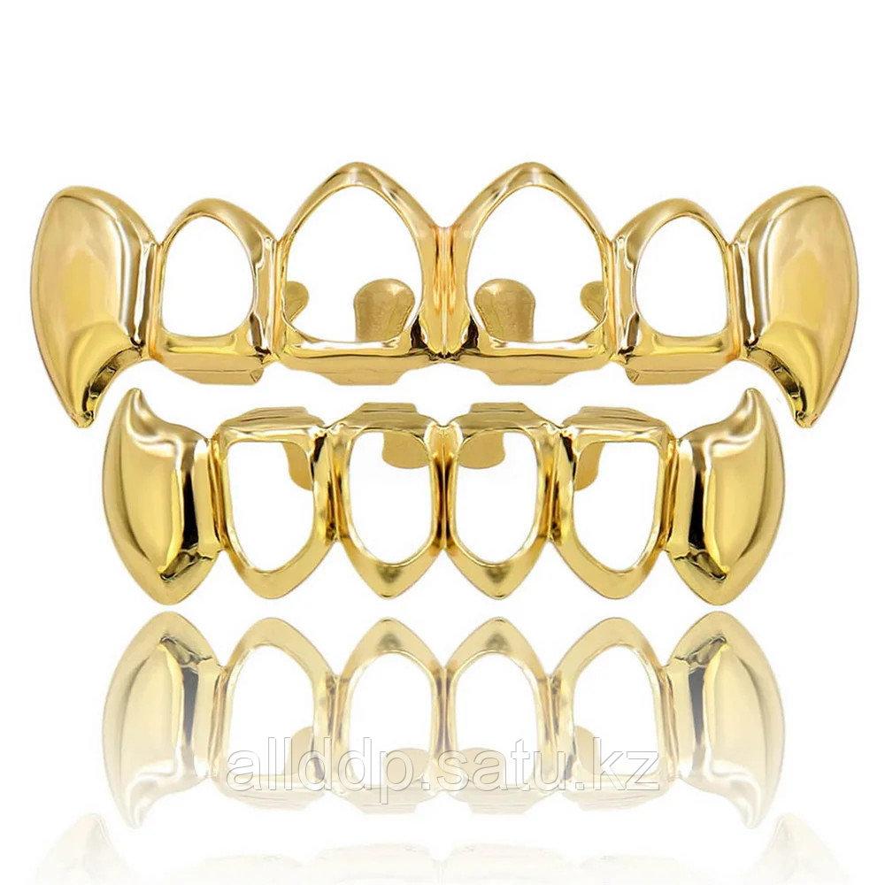 Грилзы, с открытыми зубами, золото