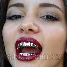 Грилзы, с открытыми зубами, серебро