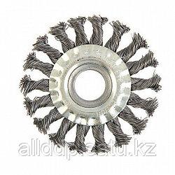 Щетка металлическая для УШМ Tundra Basic, крученая проволока, плоская, 22 мм, 100 мм
