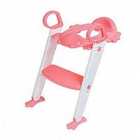 Сиденье на унитаз со ступенькой - Помощник малыша, с ручками, цвет розовый