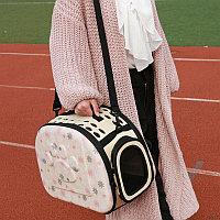 Складная сумка-переноска в цветочек для животных до 6 кг, бежевый