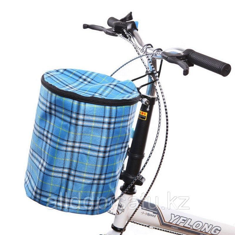 Складная подвесная тканевая корзина на руль велосипеда, голубой