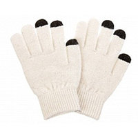 Перчатки для сенсорных экранов - белые, 3 пальца