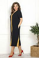 Женское летнее из вискозы синее большого размера платье Solomeya Lux 830 48р.