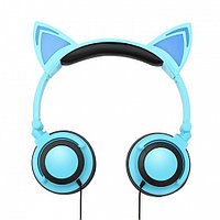 Наушники с ушками кошки cветящиеся, синий
