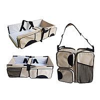 Многофункциональная сумка для мам - детская кровать для путешествий, коричневый-белый