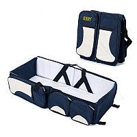 Многофункциональная сумка для мам - детская кровать для путешествий, синий-белый