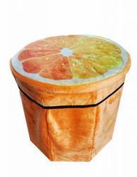 Складной пуфик-контейнер 2 в 1, 31х30 см, апельсин