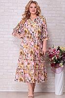 Женское летнее шифоновое большого размера платье Aira Style 832 розовые_цветы 62р.
