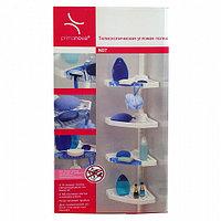 Полка угловая, пластиковая,4 полки,2 крючка,2 голубые мыльницы,белая M-N07-01