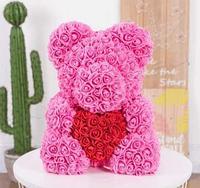 Мишка из роз в подарочной упаковке, розовый с красным сердцем