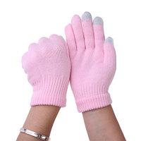 Перчатки для сенсорных экранов - розовые, 3 пальца