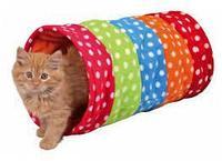 Тоннель Trixie для кошки, 25х50см., горошек, флис.