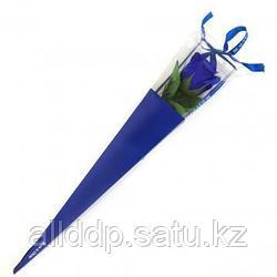 Роза из парфюмированного мыла в картонной упаковке Beauty Life, 40 см, синий