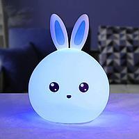 Мягкий силиконовый ночник Colorful Silicone Lamp, голубой зайчик