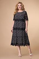 Женское летнее шифоновое черное нарядное большого размера платье Svetlana-Style 1505 черный+цветы 52р.