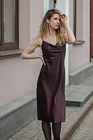 Женское осеннее коричневое нарядное платье Sisteroom Пл-055 шоколадный 40р.