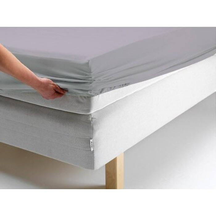 Простыня на резинке, размер 180х200х20 см, цвет серый, трикотаж