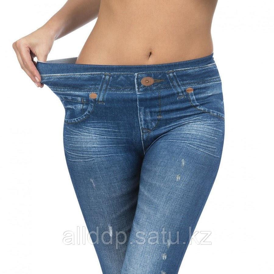 Леджинсы - Слим джеггинсы (Slim Jeggings), синие, L-XL - фото 5