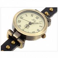 Часы браслет эко-кожа - 3 петли - Rivet, черные
