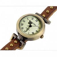 Часы браслет эко-кожа - 3 петли - Rivet, коричневые