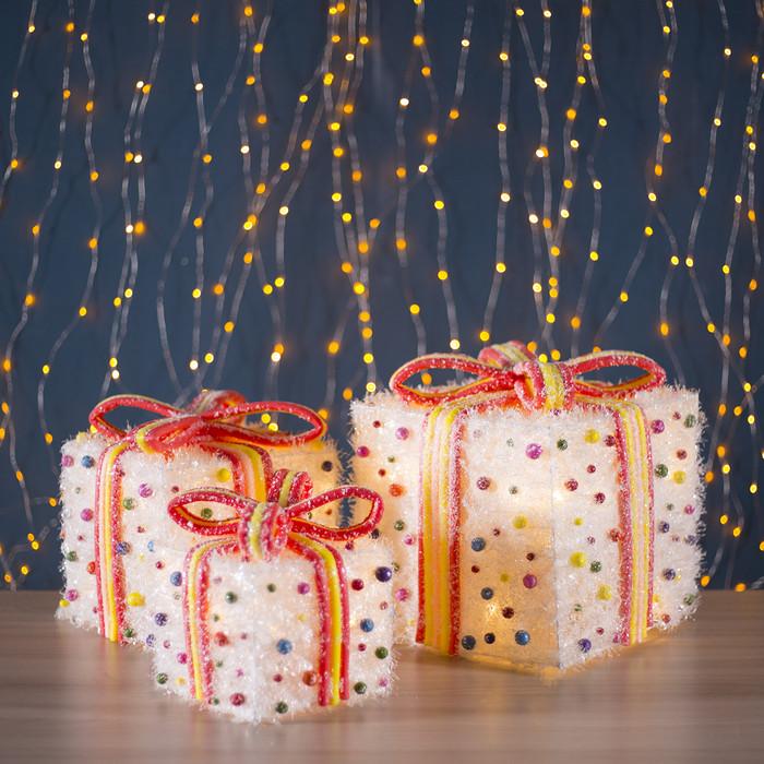 """Фигура текстиль """"Подарки с шариками"""", 35 LED, 15х20х25 см, от батареек (не в компл)"""