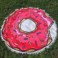 Махровое круглое пляжное полотенце - Пончик, 150 см