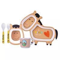 Набор детской посуды из бамбука, лошадь
