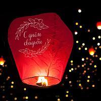Фонарик желаний «С днём свадьбы», купол, красный