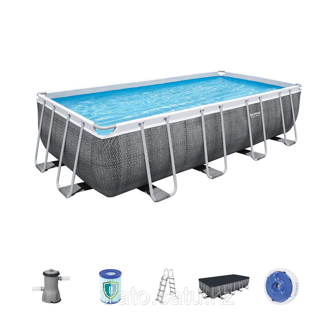 Каркасный бассейн Power Steel Rectangular 488х244х122 см  Ф-насос 3028л/ч, Лестница , Тент.