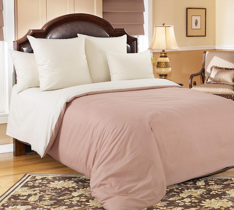 """ТексДизайн Комплект постельного белья """"Какао""""  2 спальный евро, перкаль"""