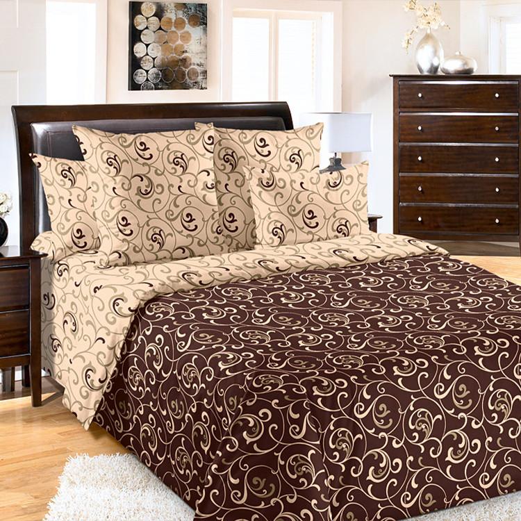 """ТексДизайн Комплект постельного белья """"Вензель кор""""  2 спальный евро, перкаль"""