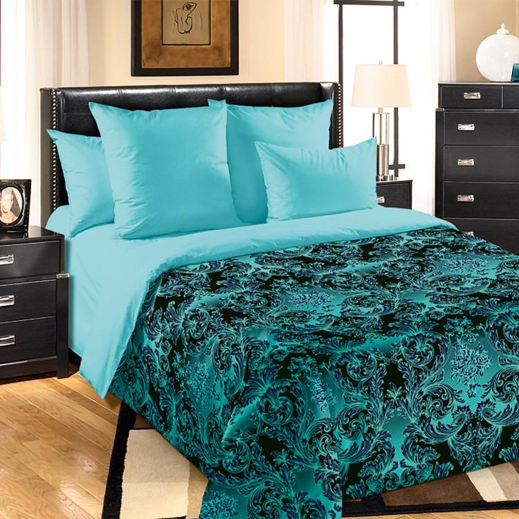 """ТексДизайн Комплект постельного белья """"Калипсо зел.""""  2 спальный евро, перкаль"""