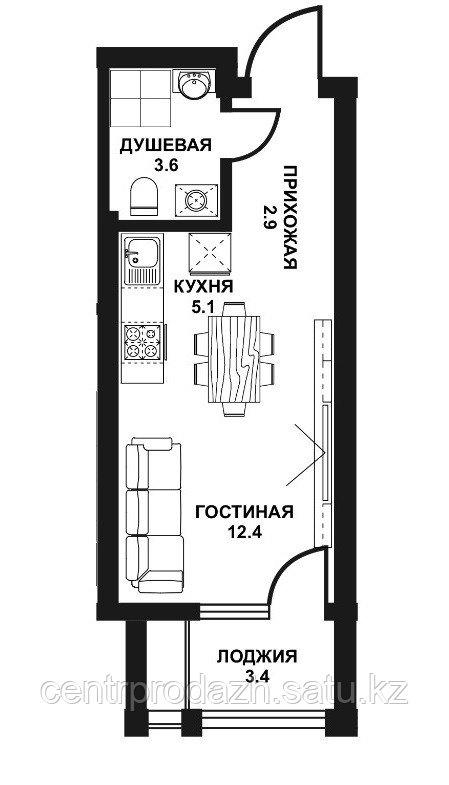 1 комнатная квартира ЖК Табысты 27,40м2