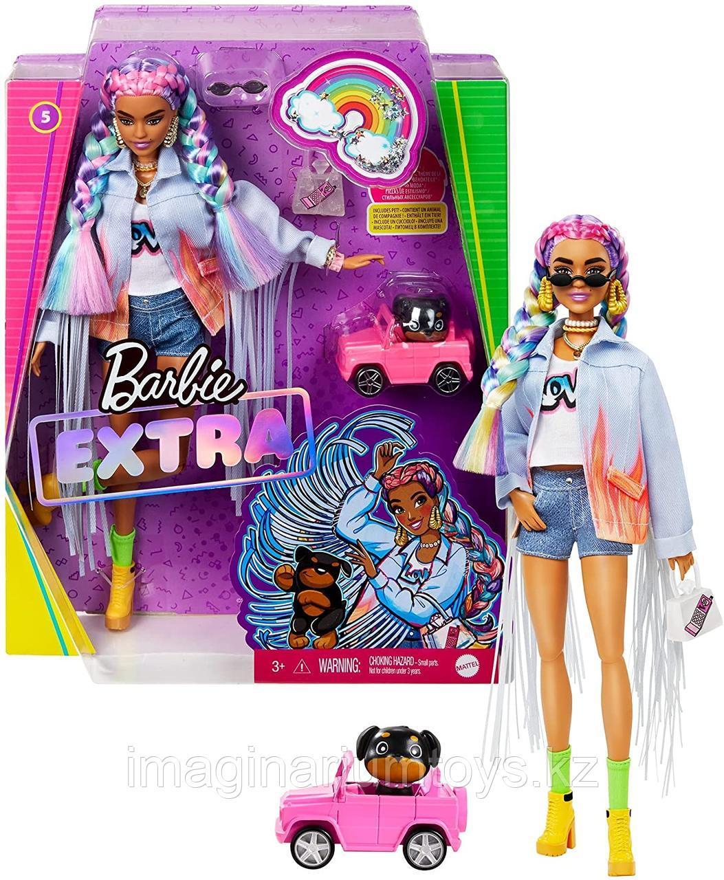 Кукла Barbie Extra с радужными косами