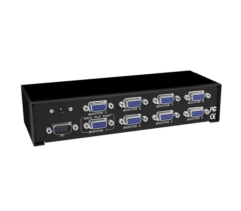 VGA splitter 8-port, VGA-2008, 200MHz, 1920x1440, 25m, разветвитель VGA-сигнала на 8 видеовыходов Арт.5965