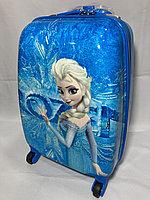 Детский пластиковый чемодан на колесах для девочек,5-7 лет. Высота 46 см, ширина 30 см, глубина 22 см., фото 1
