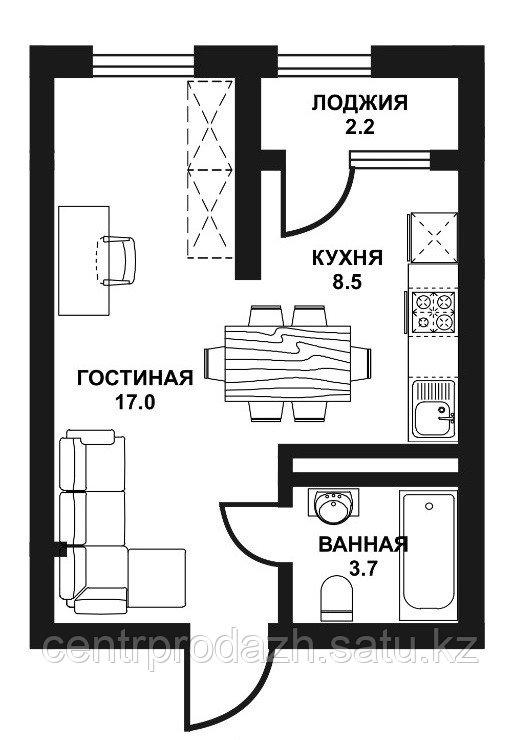 1 комнатная квартира ЖК Табысты 31,40м2