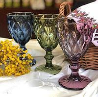 Набор бокалов для вина 6шт Фужеры цветные 17 см стекло бокал