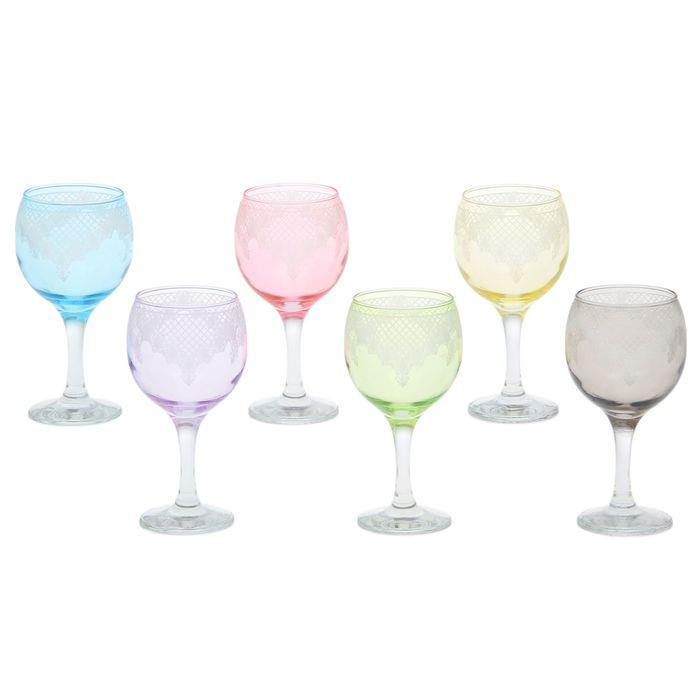 """Набор фужеров для вина 260 мл """"Крокус"""", 6 шт, гравировка, цвет МИКС"""