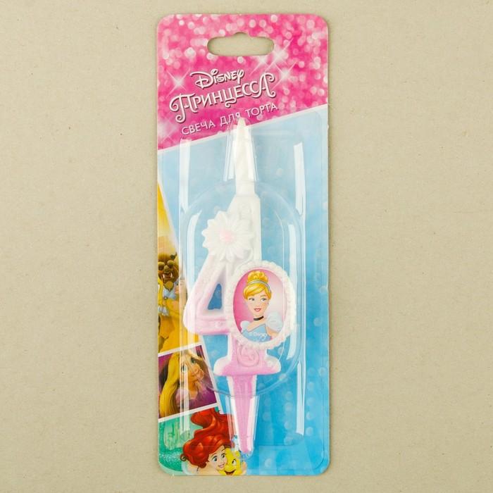 "Свеча для торта цифра ""Disney. Принцесса"" бело-розовая ""4"""