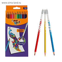 Цветные карандаши 12 цветов, детские, шестигранные, с ластиком стираемые, BIC Kids Illusion