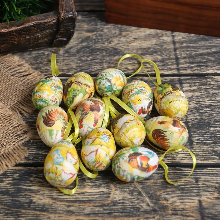 """Декор пасхальный подвеска """"Яйцо - петушок с цыплятами"""" набор 12 шт яйцо 3х4 см"""